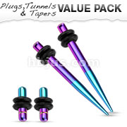Green and Purple Titanium IP Over 316L Surgical Steel Plug & Taper with O-Ring Set