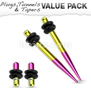 Yellow and Purple Titanium IP Over 316L Surgical Steel Plug & Taper with O-Ring Set