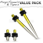 Yellow and Silver Titanium IP Over 316L Surgical Steel Plug & Taper with O-Ring Set