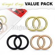 3 Pairs Value Pack PVD Over 316L Surgical Steel High Quality Precision Hinge Action Segment Rings