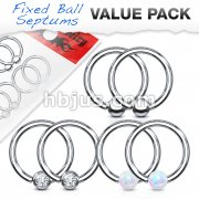 Value Packs 3 Pairs Assorted Fixed Ball 316L Surgical Steel Captive Bead Rings/Hoops