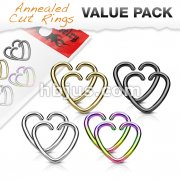 Value Packs 4 Pairs Plated Heart Cut Rings 316L Surgical Steel for Cartilage/Tragus/Daith and More