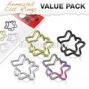 Value Packs 4 Pairs Plated Star Cut Rings 316L Surgical Steel for Cartilage/Tragus/Daith and More