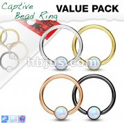 4 Pcs Opal Set Ball Captive Rings Value Pack for Ear and Eyebrow