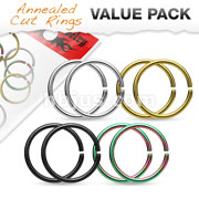 Value Packs 4 Pairs 316L Surgical Steel Cut Rings