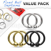 Value Packs 3 Pairs 316L Surgical Steel Fixed Ball Captive Bead Rings/Hoops