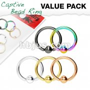 5 Pcs PVD Over 316L Surgical Steel Captive Bead Rings Value Pack