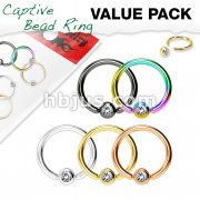 5 Pcs Jewel Set Ball Captive Rings Value Pack for Ear, Eyebrow, Nose, Septu and More