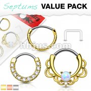3 Pcs Value Pack Assorted 316L Surgical Steel Nose Septum and Ear Cartilage Hoops with Free Clear Septum Retainer