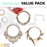 3 Pcs Value Pack Assorted Half Circle Bendable Nose Septum and Ear Cartilage Hoops with Free Clear Septum Retainer
