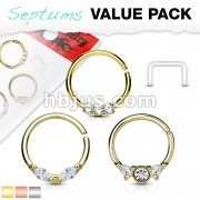 3 Pcs Value Pack Assorted Half Circle Bendable 316L Surgical Steel Nose Septum and Ear Cartilage Hoops with Free Clear Septum Retainer
