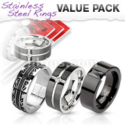3 Pcs Value Pack of Assorted Stainless Steel Black IP Band Rings