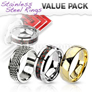 3 Pcs Value Pack of Assorted Stainless Steel Band Rings