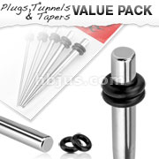 5 Pcs of Small Sized 316L Surgical Steel Stretching Taper Kit with O-Rings
