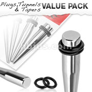4 Pscs of Large Sized 316L Surgical Steel Stretching Taper Kit with O-Rings