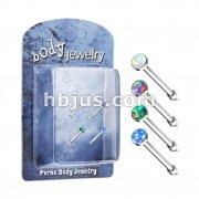 4 Pc Pre Packaged Opal Set 316L Surgical Steel Nose BoneStud Rings Bonus Pack