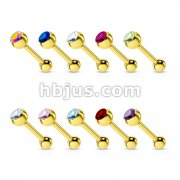 100 Pcs Press Fit Gem Ball Gold IP Over 316L Surgical Steel Barbell Bulk Pack (10 pcs x 10 Colors)