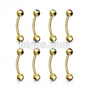 80pc Gold Plated Over 316L Surgical Steel Double Jeweled Eyebrow Rings Bulk Pack (10 pcs x 8 Colors