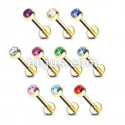 Gold Plated over 316L surgical Steel Labret/Monroes 100pc pack (10pcs x 10 colors)