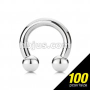 100pcs of 316L Surgical Steel Perfectly Polished Circular Barbell