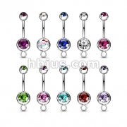 316L Surgical Stainless Steel Double Jeweled Navel Rings w/Steel O-Rings for Your Own Charms 100pc Pack (10pcs x 10 colors)
