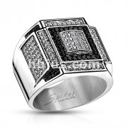 Black and Clear CZ Square Pattern Micro Paved Cast Ring Stainless Steel